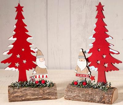 Tronco Papa Noel y árbol rojo adorno navideño decorativo para regalar por navidad