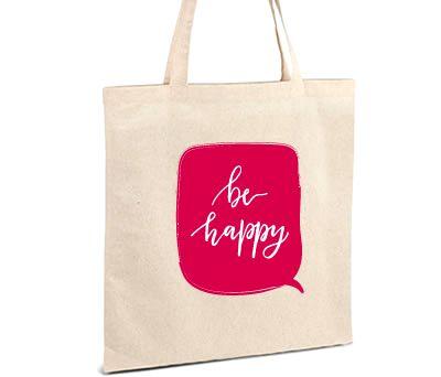 Bolsa personalizada con mensaje positivo Be Happy para regalar a los invitadosb