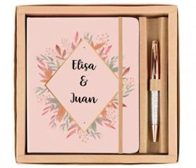 Set libreta con boli outfit woman para personalizar en color oro rosa ideal como detalle de boda o producto publicitario
