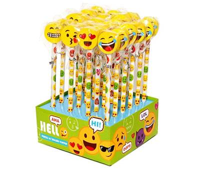 Set de lapiceros con goma emoticono como detalle infantil en eventos.