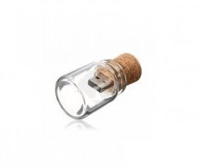 Usb corcho en botellita de cristal como detalle para los invitados de tu boda