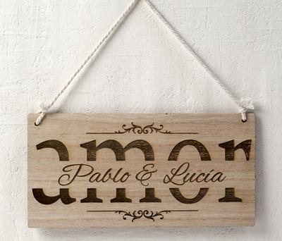 Cuadro de madera Amor personalizable como decoración de bodas