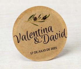 Etiqueta Etiqueta adhesiva kraft rama de olivo personalizable con vuestros nombres y fecha para decorar los detalles de boda