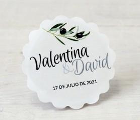Etiqueta adhesiva ondas rama de olivo personalizable con vuestros nombres para decorar los detalles de boda