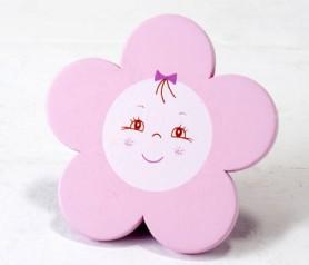 Imán madera flor rosa como detalle de bautizo