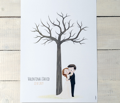 Lámina árbol de huellas personalizable para que tus invitados dejen su recuerdo de boda