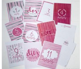 Set 12 tarjetones para recordar los primeros 12 meses de nuestros hijos