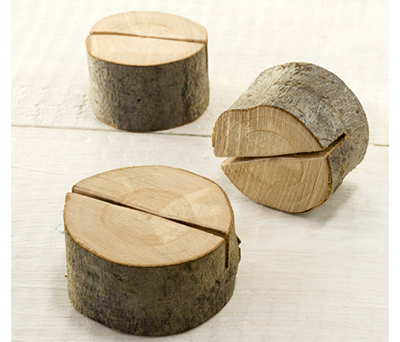 Soporte tronco madera para uso de mesero, fotos, portatarjetas