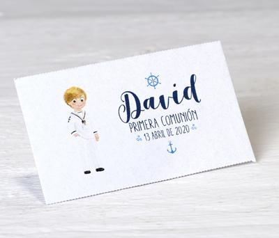 Tarjeta precortada Comunión marinero personalizable para decorar los obsequios a los invitados