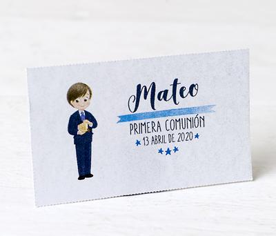 Tarjeta precortada Comunión niño traje personalizable para decorar los obsequios a los invitados