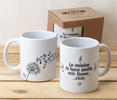 Taza de cerámica la música como regalo especial para amigos, familiares y detalle para boda