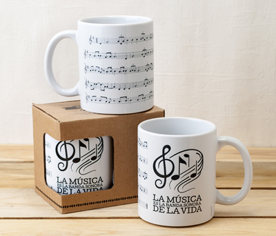 Taza de cerámica partitura musical como regalo especial para amigos, familiares y detalle para boda