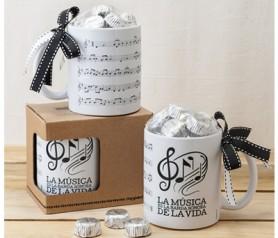 Taza partitura musical, la música en la banda sonira de la vida como regalo especial para amigos, familiares y detalle para boda