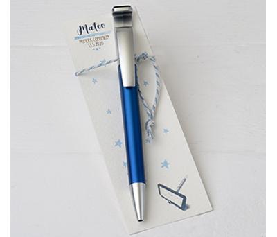 Boli azulón para móvil con borra huellas en punto de libro Detalle Comunión