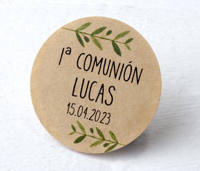 Etiqueta adhesiva kraf ramas verdes Detalles Comunión