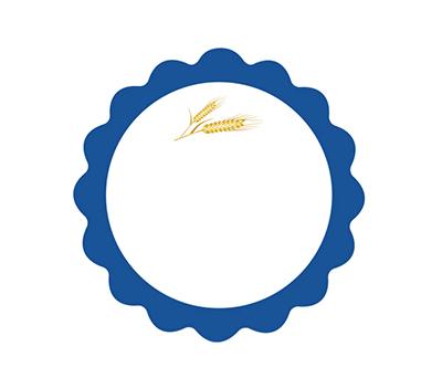 Etiqueta adhesiva primera comunión ondas azul