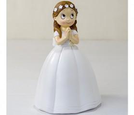 Figura comunión niña vestido largo corona flores