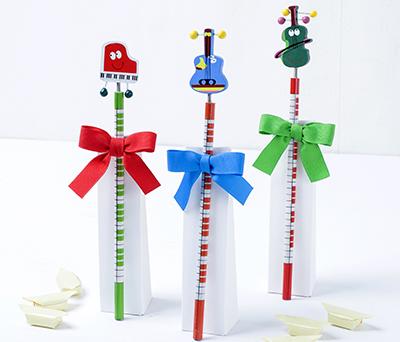 Lápices instrumentos musicales con 3 caramelos Detalle Comunión Detalle Bautizo