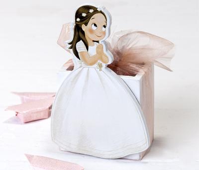Portalapices madera niña Comunión vestido largo 9 caramelos
