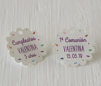 Tarjeta flor hojitas de colores detalles para fiestas infantiles o comunión