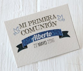 Tarjeta horizontal primera comunión cinta niño Recuerdo para invitados de Comunión