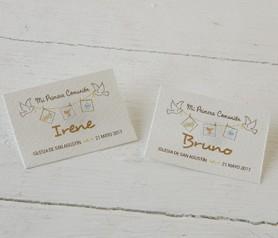 Tarjeta horizontal primera comunión tendedor marrón como detalle para invitados de comunión
