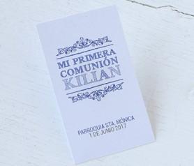 Tarjeta vertical primera comunión royal niño como detalle para invitados comunión