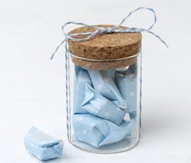 Tarro de cristal con 5 caramelos azules Detalle de Comunión o Detalle de Bautizo