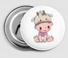 Abrebotellas con imán bebé con pañal niña y gorrito vaquita en la cabeza detalle cuqui para los invitados del bautizo