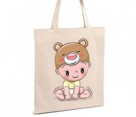 Ideal bolsa de asa bebé con gorrito de osito como detalle de bautizo o para llevar todos los complementos del bebe