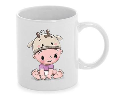 Taza bebe con gorrito de vaquita niña como detalle de bautizo