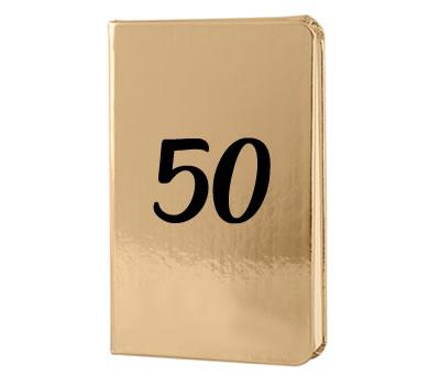 Libreta dorada 50 aniversario como detalle para los invitados a tu celebracion