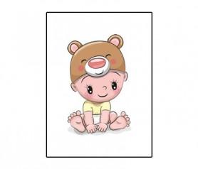 Lámina bebé osito tamaño A4 para enmarcar como detalle de bautizo, regalo de cumpleaños o nacimiento
