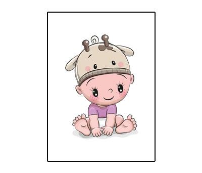 Lámina bebé vaquita tamaño A4 para enmarcar como detalle de bautizo, regalo de cumpleaños o nacimiento