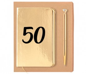set oro de libreta con 50 aniversario y bolígrafo a juego como detalle de bodas de oro