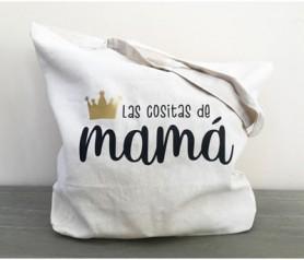 Bolsa de asas de algodón orgánico con la frase las cositas de mamá para regalar a cualquier madre