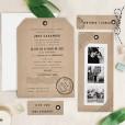 Composición invitación de boda kraft ocn tarjetas y fotos polaroid