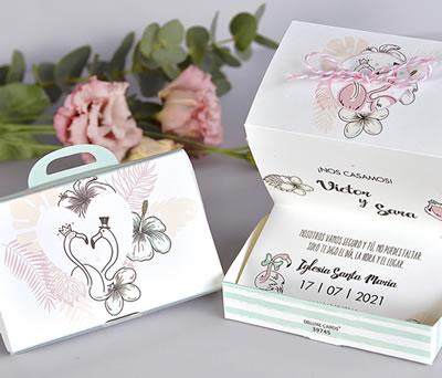 Divertida y original Invitación de boda maleta flamencos