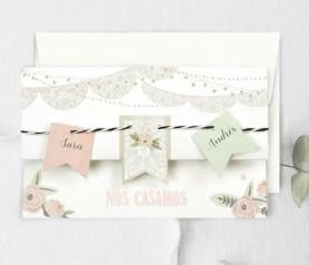 Invitación de boda banderines como carta de presentación de tu enlace