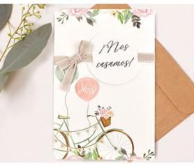 Invitación de boda bicicleta Mr. and Mrs. con lazo como novedad en invitaciones para 2019