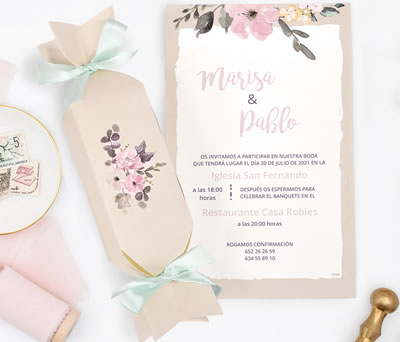 Invitación de boda caramelo dulce