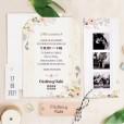 Invitación de boda con fotos de los novios estilo polaroid