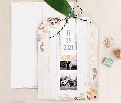Invitación de boda con fotos polaroid