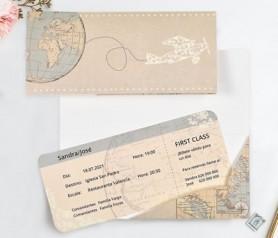 Invitación de boda de estilo viajero como billete de avión