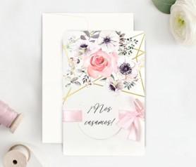 Invitación de boda floral Nos casamos novedades en invitaciones