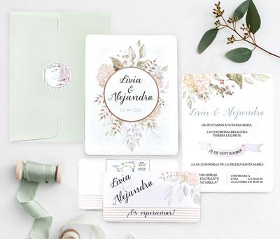 Invitación de boda flores mint con tarjeta de confirmación sobre y pegatina