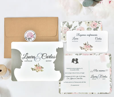 Invitación de boda perfiles caras con tarjeta de confirmación sobre y pegatina