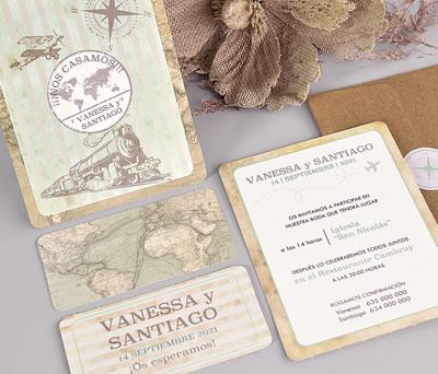 Invitación de boda viaje con tarjeta de confirmación sobre y pegatina