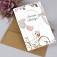 Invitación original de boda bicicleta, banderín y globos Mr. Mrs. con etiquetacomo novedad para bodas de 2019 y 2020
