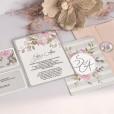 Invitación y tarjeta de confirmación portada y reverso